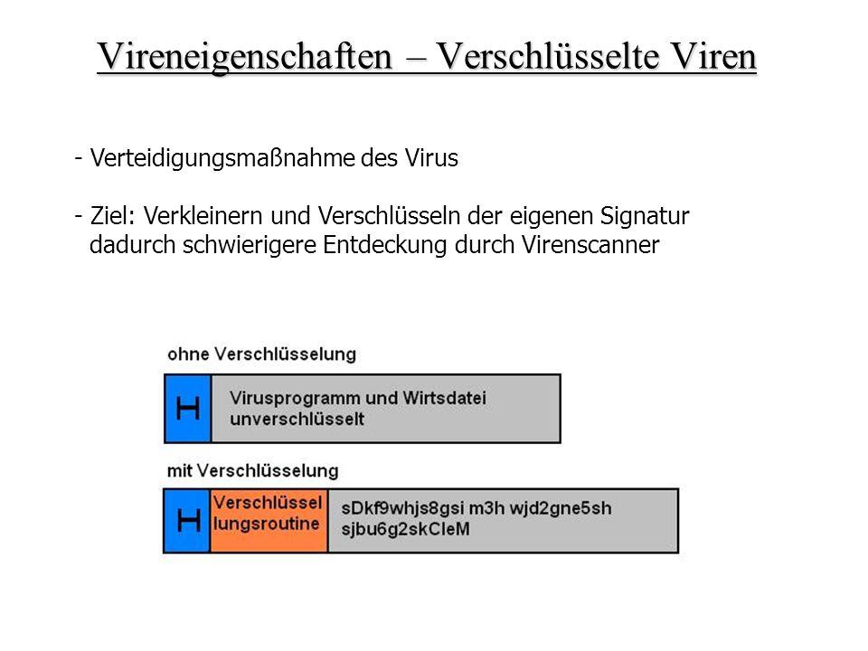 Vireneigenschaften – Verschlüsselte Viren - Verteidigungsmaßnahme des Virus - Ziel: Verkleinern und Verschlüsseln der eigenen Signatur dadurch schwier