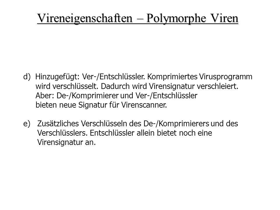 Vireneigenschaften – Polymorphe Viren d) Hinzugefügt: Ver-/Entschlüssler. Komprimiertes Virusprogramm wird verschlüsselt. Dadurch wird Virensignatur v
