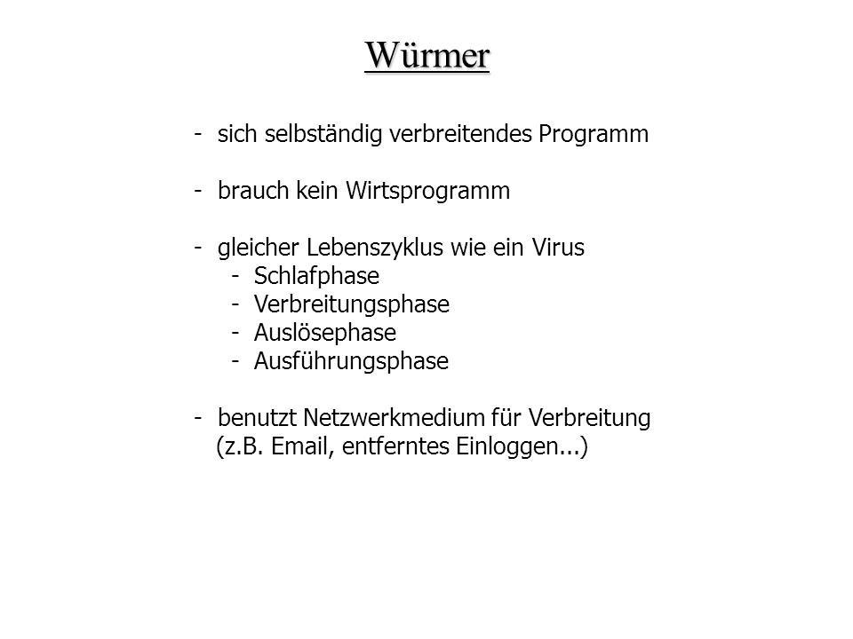 Würmer - sich selbständig verbreitendes Programm - brauch kein Wirtsprogramm - gleicher Lebenszyklus wie ein Virus - Schlafphase - Verbreitungsphase -