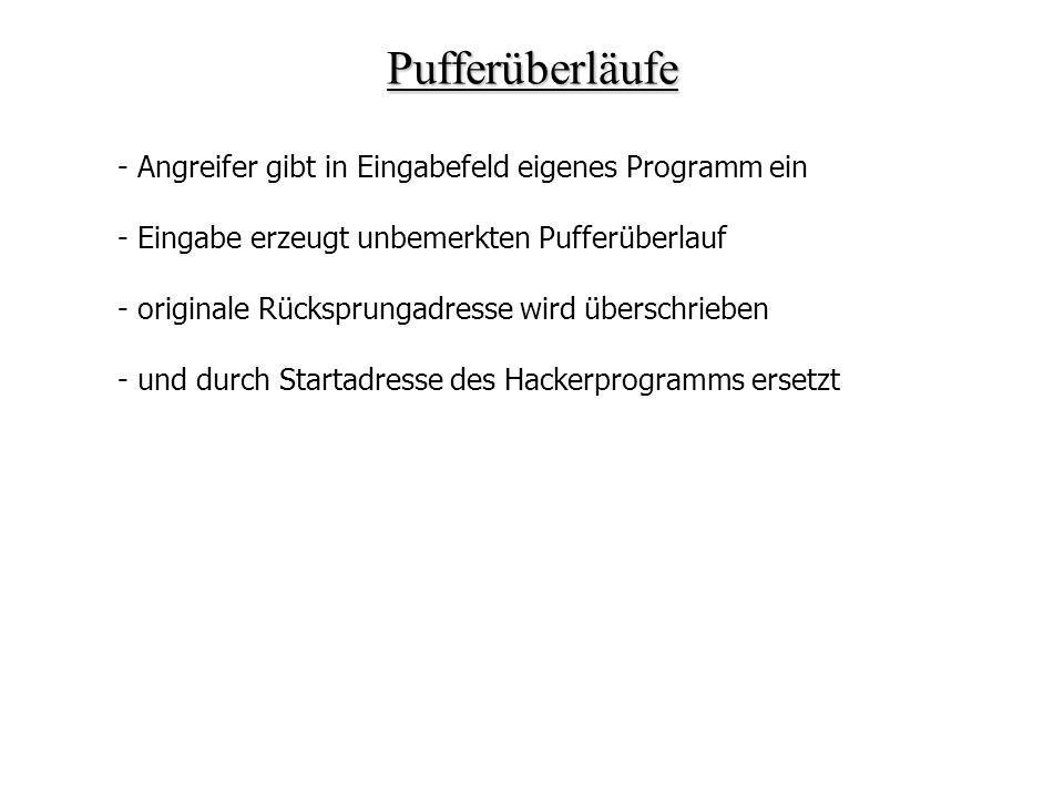 Pufferüberläufe - Angreifer gibt in Eingabefeld eigenes Programm ein - Eingabe erzeugt unbemerkten Pufferüberlauf - originale Rücksprungadresse wird ü
