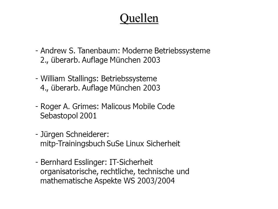 Quellen - Andrew S. Tanenbaum: Moderne Betriebssysteme 2., überarb. Auflage München 2003 - William Stallings: Betriebssysteme 4., überarb. Auflage Mün