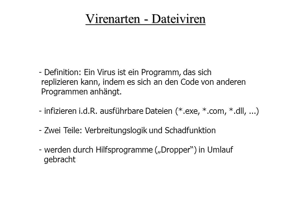 Vireneigenschaften – Speicherresidente Viren Beispiel Bootvirus & Windows Betriebssystem: - Ziel des Bootvirus: Speicherresident sein nach Start des Betriebssystems - Ansatzpunkt: Virus im gefälschten Bootsektor aktiviert - lädt sich selbst in den Speicher - startet dann das Betriebssystem