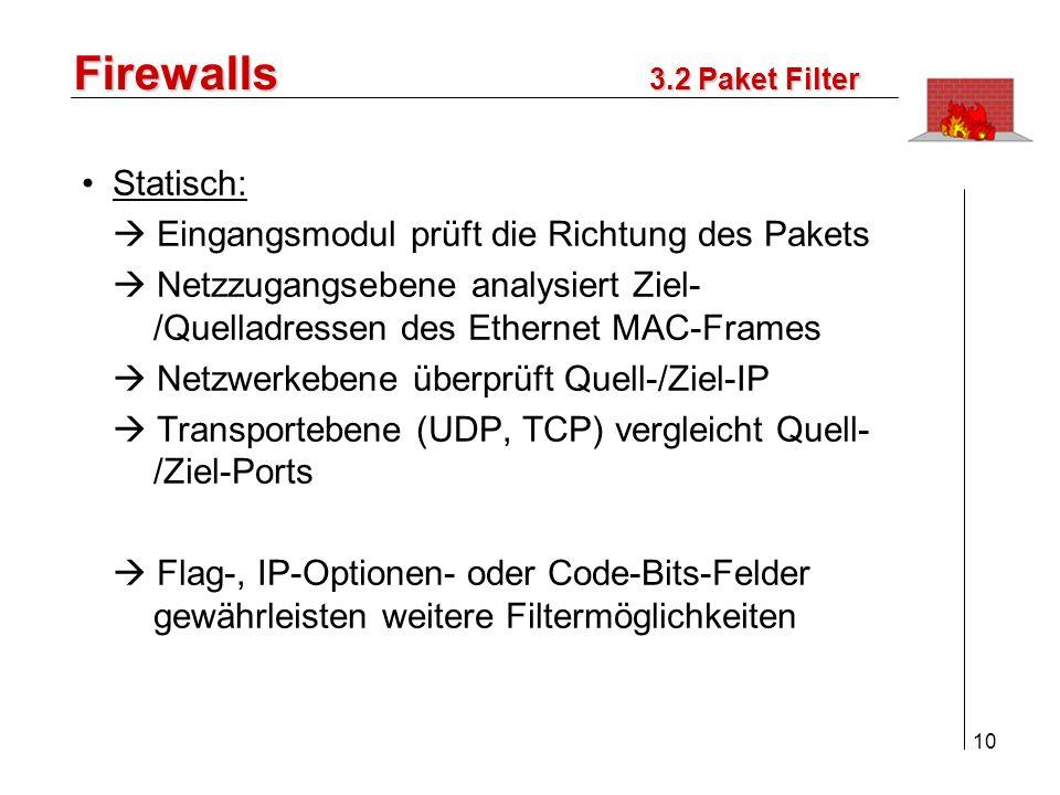 11 Firewalls Dynamisch: bei UDP-Protokoll temporäre Anpassung der Filterregeln durch Merken der IPs und Ports Benutzerorientiert: Benutzer muss sich bei PF authentisieren (z.B.