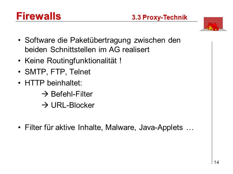 15 Firewalls 1.Einleitung 2.Ziele einer Firewall 3.Paket-Filter/Application Gateway 4.Konzepte / Lösungen 5.Der praktische Einsatz 6.Fazit