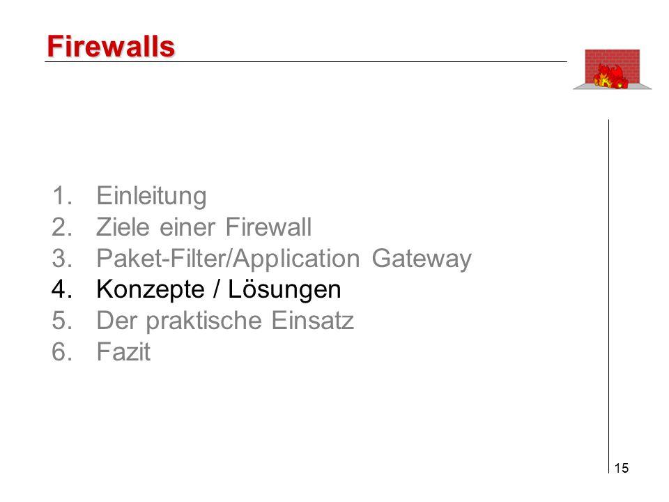16 Firewalls AlternativeMerkmaleAnwendungsgebiete Ausschliesslich Paket-Filter Benutzung nur von erlaubten Ports und Protokollen kontrollierte Auswertung protokollierter Ereignisse Reicht zur Ankopplung an unsichere Netze nicht aus Mit Verschlüsselung für das Intranet geeignet Ausschliesslich Application Gateway nur Dienste ausführbar, für die Proxy installiert ist Zugangskontrolle auf Benutzerebene Anwendungsfilter Verbergen der Netzstruktur Koppeln von zwei Netzen mit vergleichbarem Schutzniveau 4.
