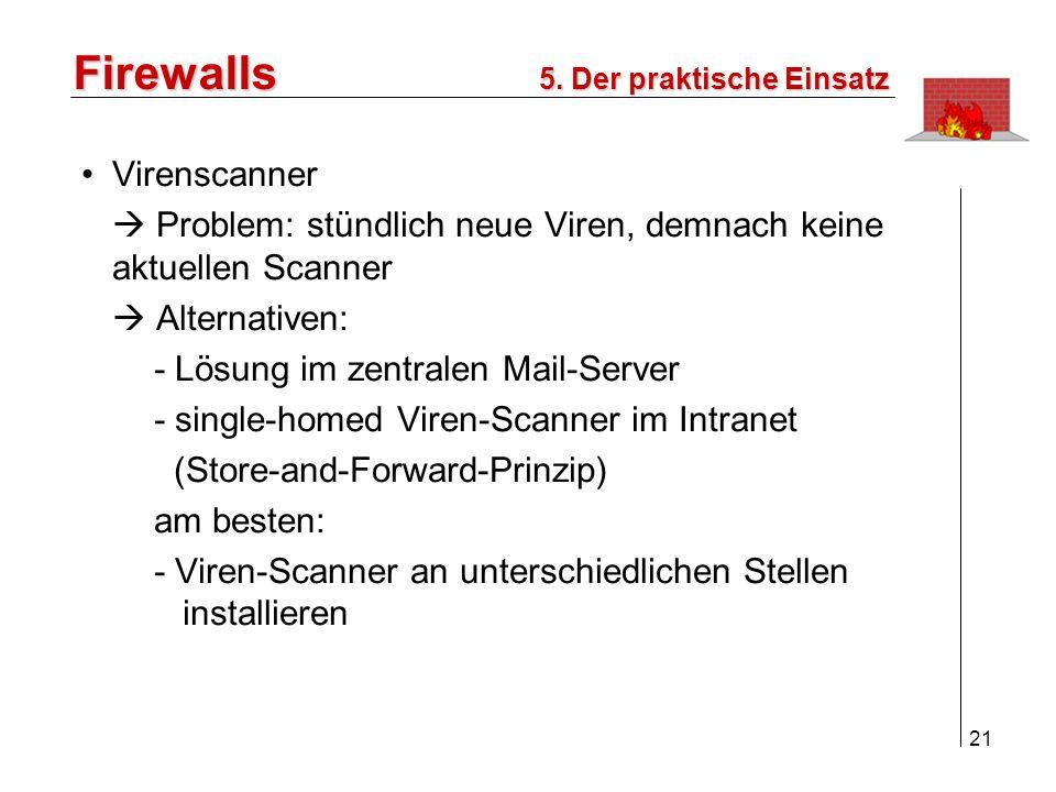22 Firewalls 5. Der praktische Einsatz Internet Intranet Rechner mit Virenscanner