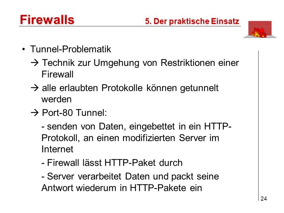 25 Firewalls 1.Einleitung 2.Ziele einer Firewall 3.Paket-Filter/Application Gateway 4.Konzepte / Lösungen 5.Der praktische Einsatz 6.Fazit