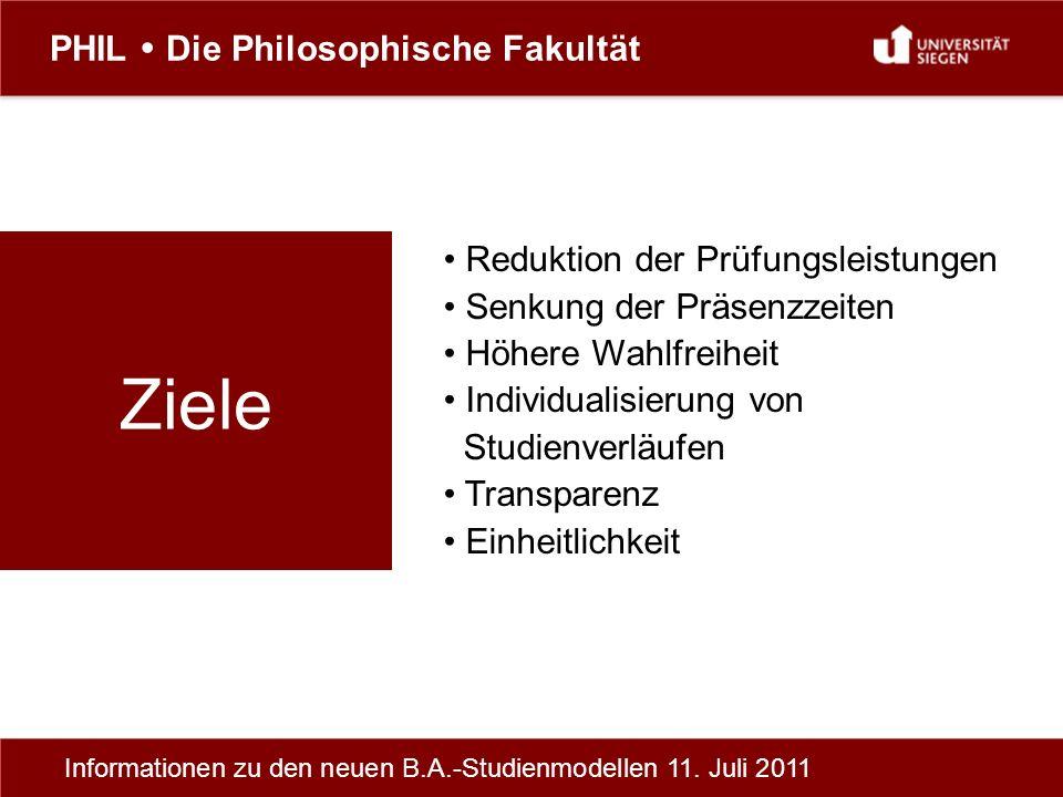 PHIL Die Philosophische Fakultät Informationen zu den neuen B.A.-Studienmodellen 11.