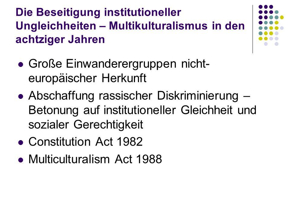 Die Beseitigung institutioneller Ungleichheiten – Multikulturalismus in den achtziger Jahren Große Einwanderergruppen nicht- europäischer Herkunft Abs