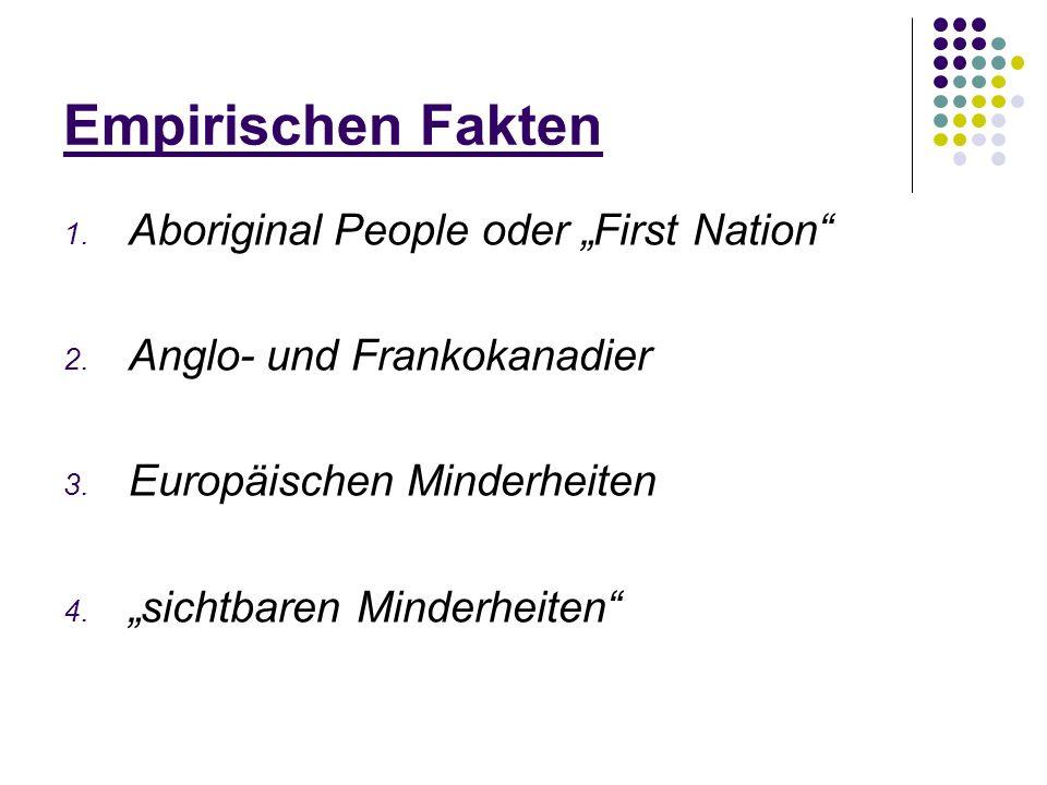 Empirischen Fakten 1. Aboriginal People oder First Nation 2. Anglo- und Frankokanadier 3. Europäischen Minderheiten 4. sichtbaren Minderheiten