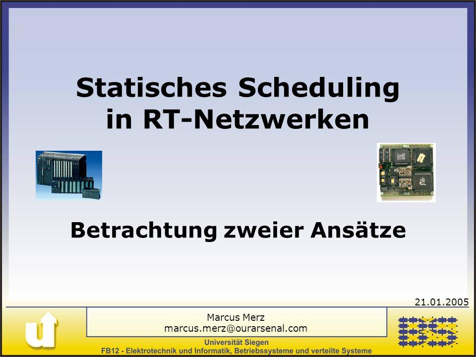 Statisches Scheduling in RT-Netzwerken Betrachtung zweier Ansätze Marcus Merz marcus.merz@ourarsenal.com 21.01.2005