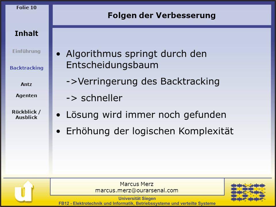 Marcus Merz marcus.merz@ourarsenal.com Folie 10 Inhalt Einführung Backtracking Antz Agenten Rückblick / Ausblick Algorithmus springt durch den Entscheidungsbaum ->Verringerung des Backtracking -> schneller Lösung wird immer noch gefunden Erhöhung der logischen Komplexität Folgen der Verbesserung