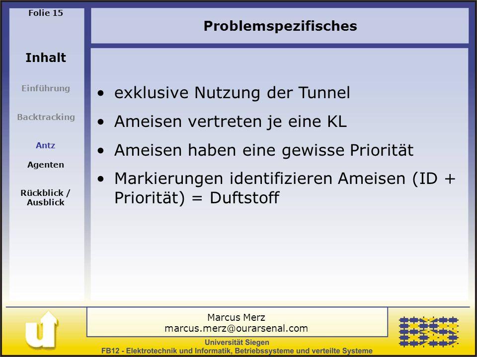 Marcus Merz marcus.merz@ourarsenal.com Folie 15 Inhalt Einführung Backtracking Antz Agenten Rückblick / Ausblick Problemspezifisches exklusive Nutzung der Tunnel Ameisen vertreten je eine KL Ameisen haben eine gewisse Priorität Markierungen identifizieren Ameisen (ID + Priorität) = Duftstoff