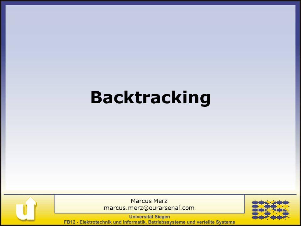 Marcus Merz marcus.merz@ourarsenal.com Folie 26 Inhalt Einführung Backtracking Antz Agenten Rückblick / Ausblick Fazit benötigt ausgeklügelte Synchronisation erweiterbar über Abänderung der Verhandlungstaktik gute Nachvollziehbarkeit
