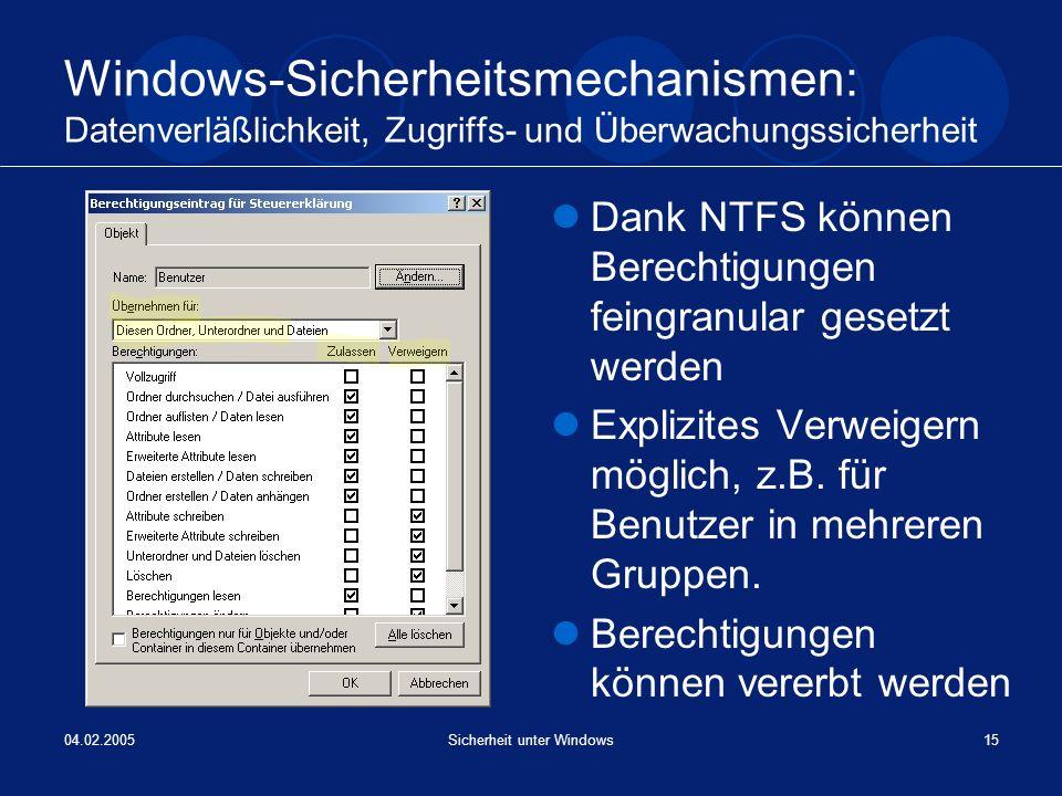 04.02.2005Sicherheit unter Windows15 Windows-Sicherheitsmechanismen: Datenverläßlichkeit, Zugriffs- und Überwachungssicherheit Dank NTFS können Berech