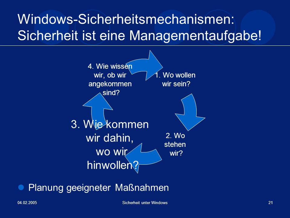 04.02.2005Sicherheit unter Windows21 Windows-Sicherheitsmechanismen: Sicherheit ist eine Managementaufgabe! Planung geeigneter Maßnahmen 1. Wo wollen