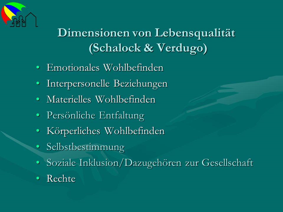 Dimensionen von Lebensqualität (Schalock & Verdugo) Emotionales WohlbefindenEmotionales Wohlbefinden Interpersonelle BeziehungenInterpersonelle Bezieh