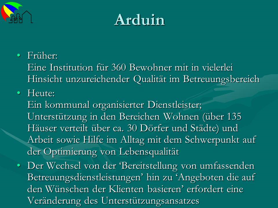 Arduin Früher: Eine Institution für 360 Bewohner mit in vielerlei Hinsicht unzureichender Qualität im BetreuungsbereichFrüher: Eine Institution für 36