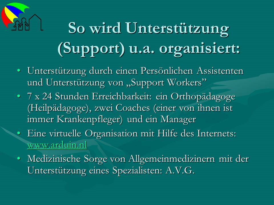 So wird Unterstützung (Support) u.a. organisiert: Unterstützung durch einen Persönlichen Assistenten und Unterstützung von Support WorkersUnterstützun