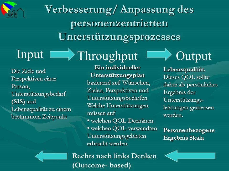 Verbesserung/ Anpassung des personenzentrierten Unterstützungsprozesses Input ThroughputOutput Die Ziele und Perspektiven einer Person, Unterstützungs