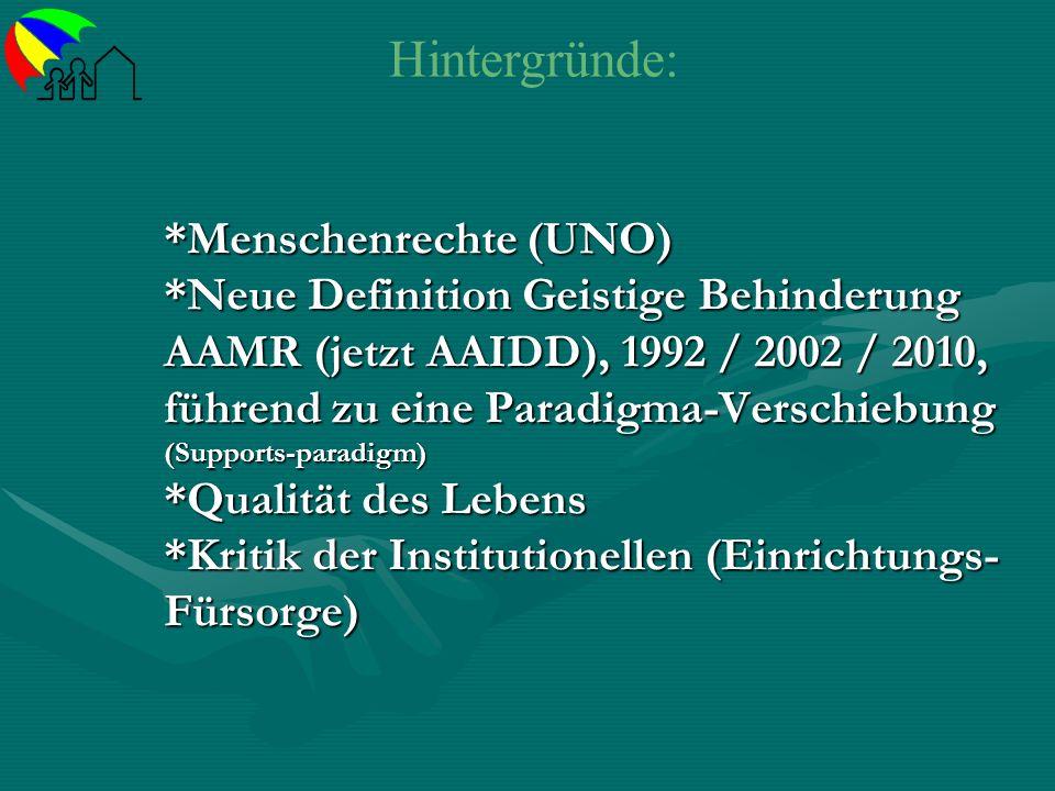 *Menschenrechte (UNO) *Neue Definition Geistige Behinderung AAMR (jetzt AAIDD), 1992 / 2002 / 2010, führend zu eine Paradigma-Verschiebung (Supports-p