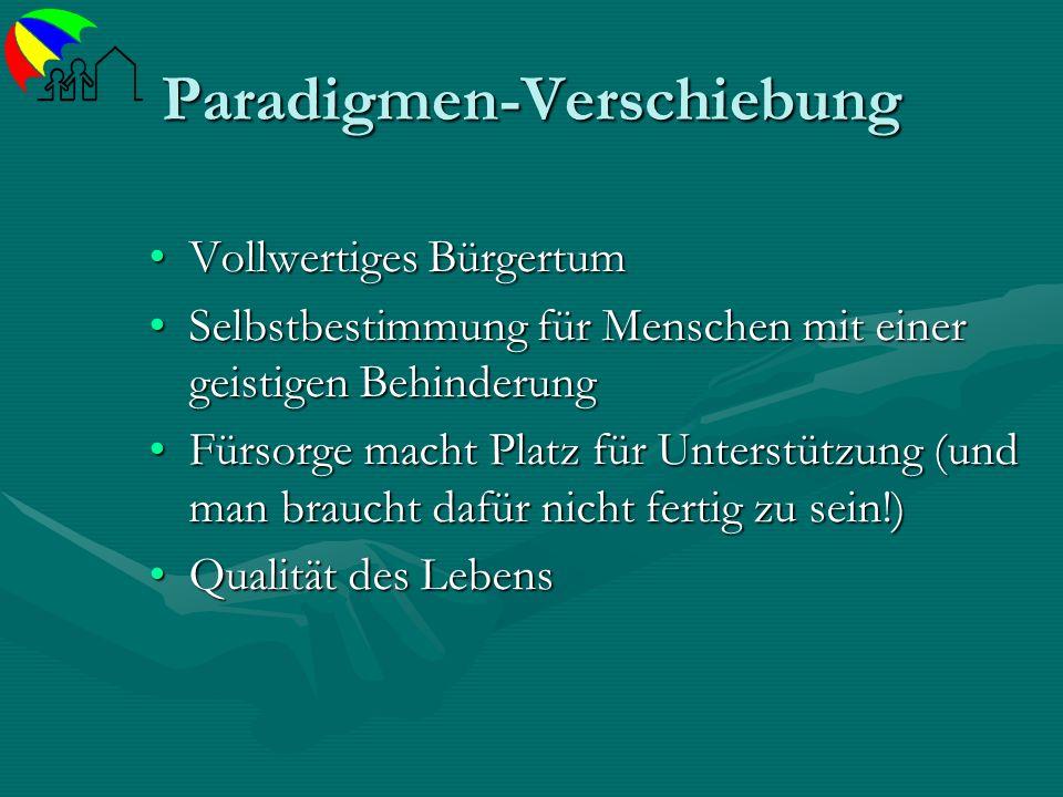 Paradigmen-Verschiebung Vollwertiges BürgertumVollwertiges Bürgertum Selbstbestimmung für Menschen mit einer geistigen BehinderungSelbstbestimmung für