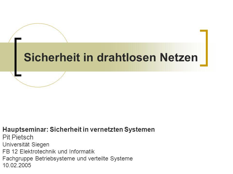 Sicherheit in drahtlosen Netzen Hauptseminar: Sicherheit in vernetzten Systemen Pit Pietsch Universität Siegen FB 12 Elektrotechnik und Informatik Fac