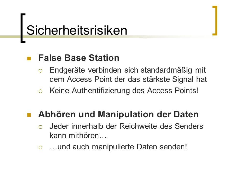 Sicherheitsrisiken False Base Station Endgeräte verbinden sich standardmäßig mit dem Access Point der das stärkste Signal hat Keine Authentifizierung