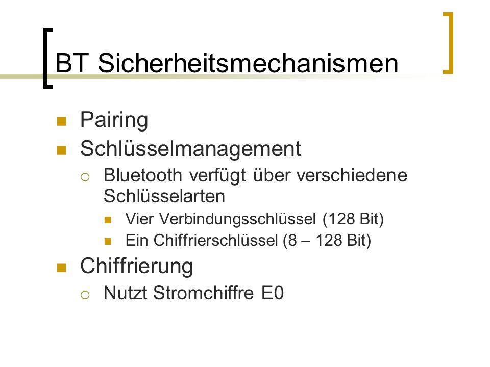 BT Sicherheitsmechanismen Pairing Schlüsselmanagement Bluetooth verfügt über verschiedene Schlüsselarten Vier Verbindungsschlüssel (128 Bit) Ein Chiff