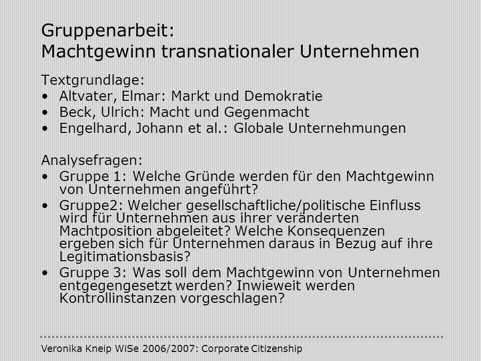 Veronika Kneip WiSe 2006/2007: Corporate Citizenship Gruppenarbeit: Machtgewinn transnationaler Unternehmen Textgrundlage: Altvater, Elmar: Markt und
