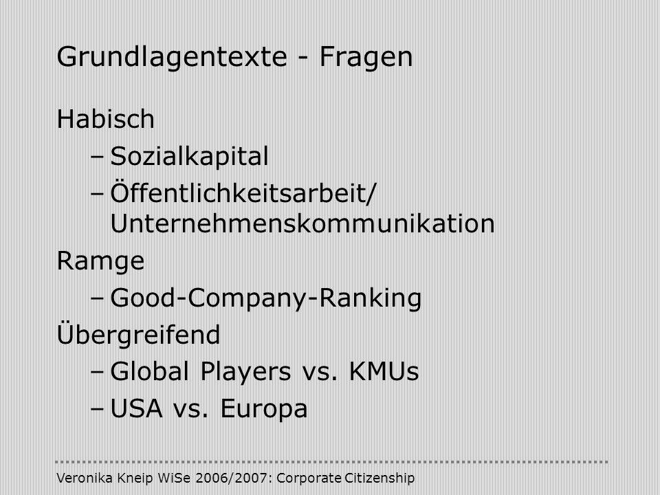 Veronika Kneip WiSe 2006/2007: Corporate Citizenship Grundlagentexte - Fragen Habisch –Sozialkapital –Öffentlichkeitsarbeit/ Unternehmenskommunikation