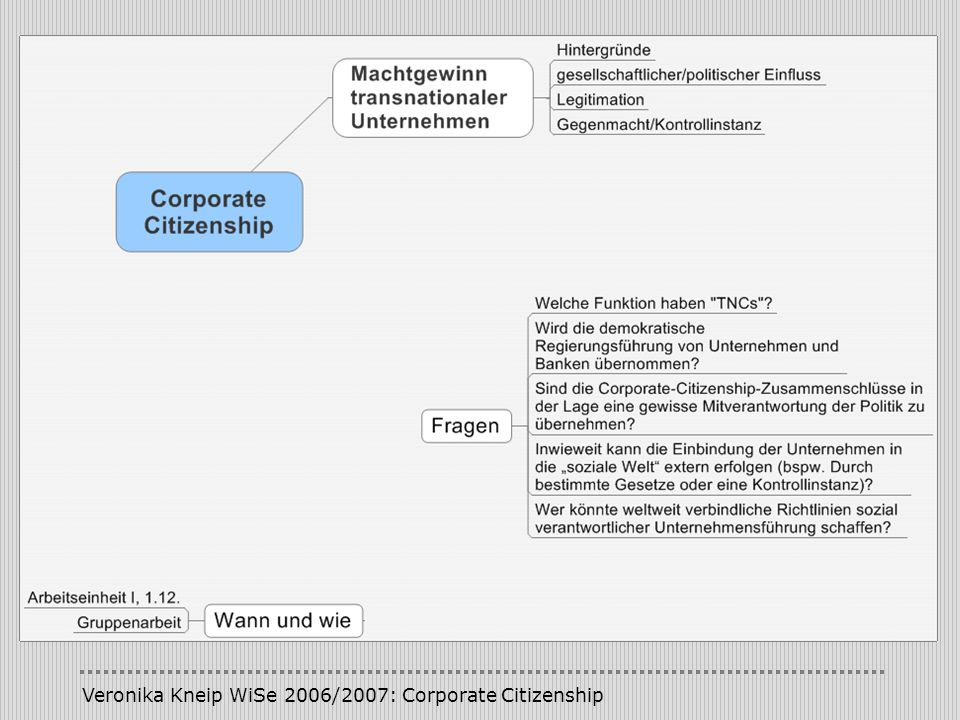 Veronika Kneip WiSe 2006/2007: Corporate Citizenship