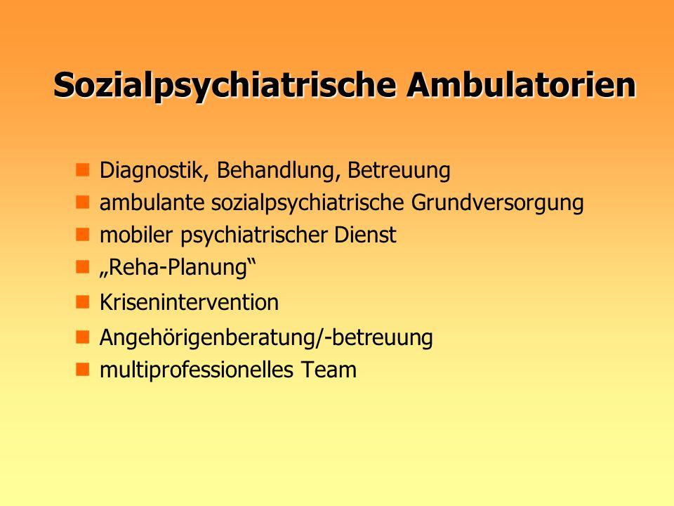 Sozialpsychiatrische Ambulatorien Diagnostik, Behandlung, Betreuung ambulante sozialpsychiatrische Grundversorgung mobiler psychiatrischer Dienst Reha