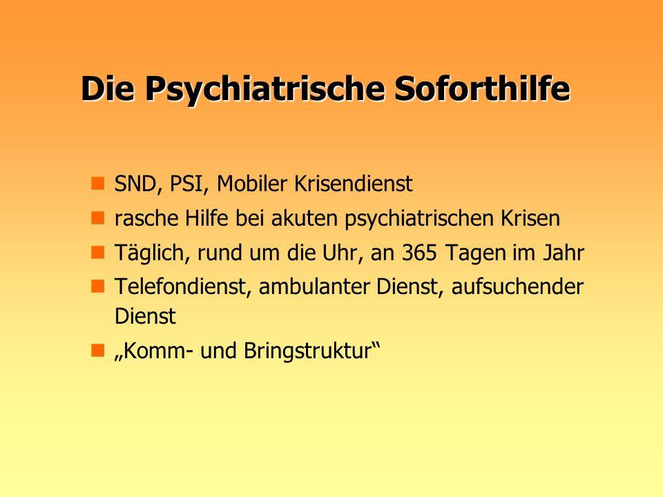 Die Psychiatrische Soforthilfe SND, PSI, Mobiler Krisendienst rasche Hilfe bei akuten psychiatrischen Krisen Täglich, rund um die Uhr, an 365 Tagen im