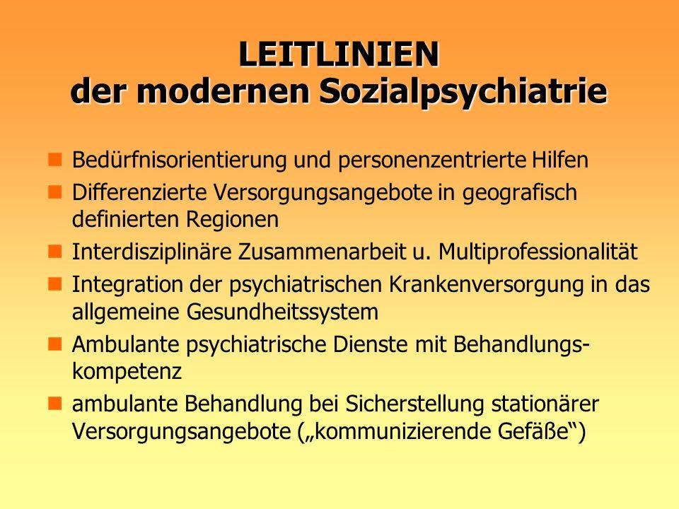 LEITLINIEN der modernen Sozialpsychiatrie Bedürfnisorientierung und personenzentrierte Hilfen Differenzierte Versorgungsangebote in geografisch defini