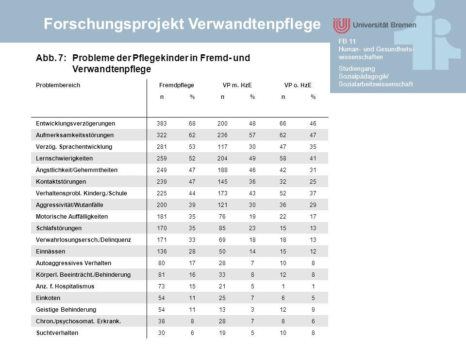 Forschungsprojekt Verwandtenpflege Studiengang Sozialpädagogik/ Sozialarbeitswissenschaft FB 11 Human- und Gesundheits- wissenschaften Abb. 7: Problem