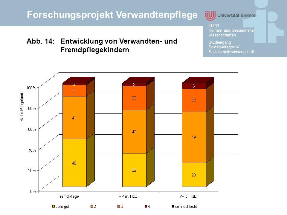 Forschungsprojekt Verwandtenpflege Studiengang Sozialpädagogik/ Sozialarbeitswissenschaft FB 11 Human- und Gesundheits- wissenschaften Abb. 14:Entwick