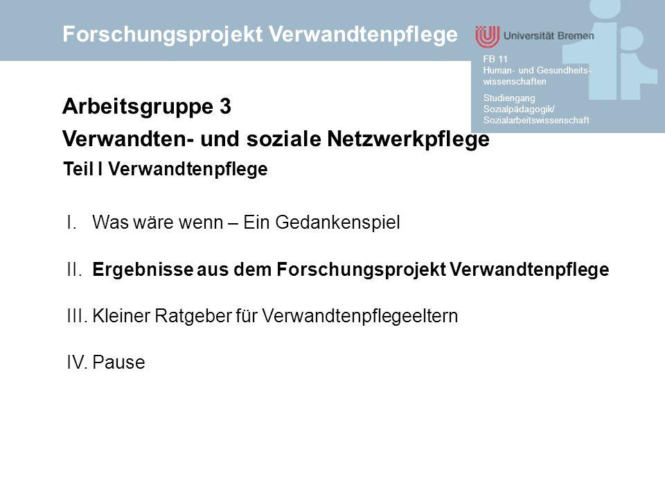 Forschungsprojekt Verwandtenpflege Studiengang Sozialpädagogik/ Sozialarbeitswissenschaft FB 11 Human- und Gesundheits- wissenschaften 1.