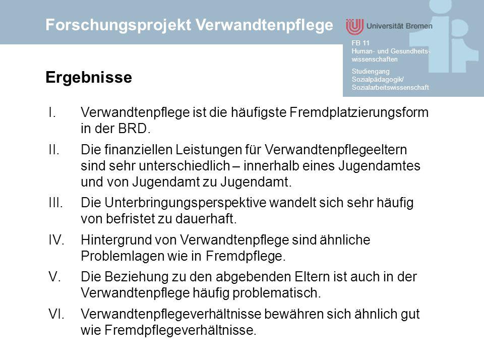 Forschungsprojekt Verwandtenpflege Studiengang Sozialpädagogik/ Sozialarbeitswissenschaft FB 11 Human- und Gesundheits- wissenschaften Ergebnisse I.Verwandtenpflege ist die häufigste Fremdplatzierungsform in der BRD.