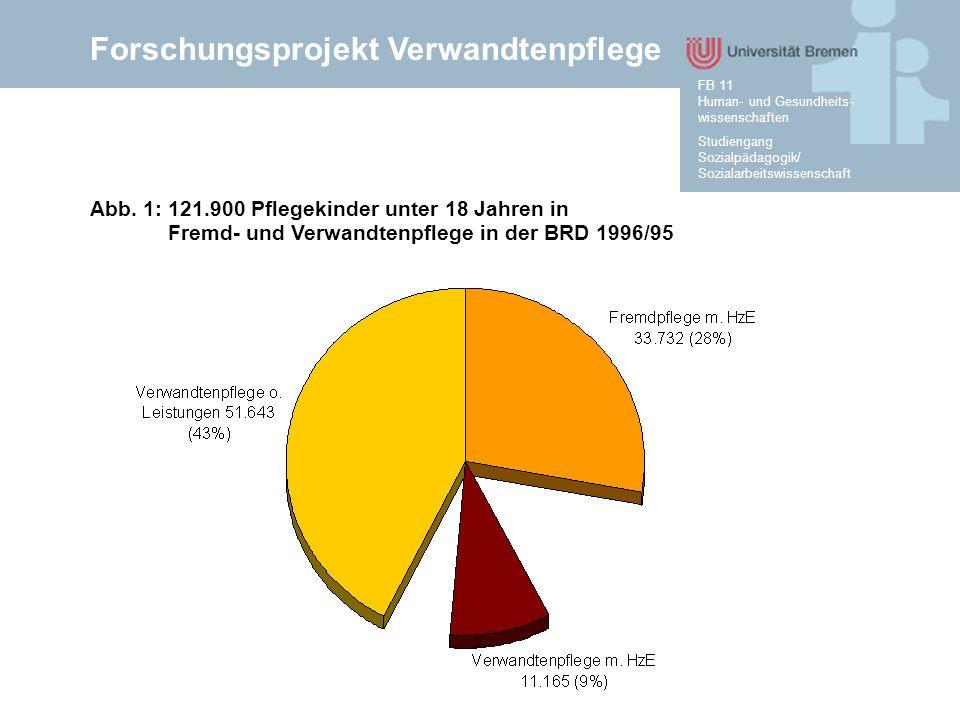 Forschungsprojekt Verwandtenpflege Studiengang Sozialpädagogik/ Sozialarbeitswissenschaft FB 11 Human- und Gesundheits- wissenschaften Abb. 1: 121.900