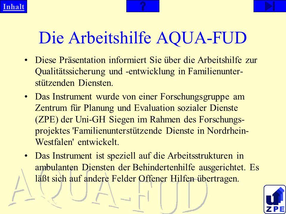 Inhalt Die Arbeitshilfe AQUA-FUD Diese Präsentation informiert Sie über die Arbeitshilfe zur Qualitätssicherung und -entwicklung in Familienunter- stützenden Diensten.