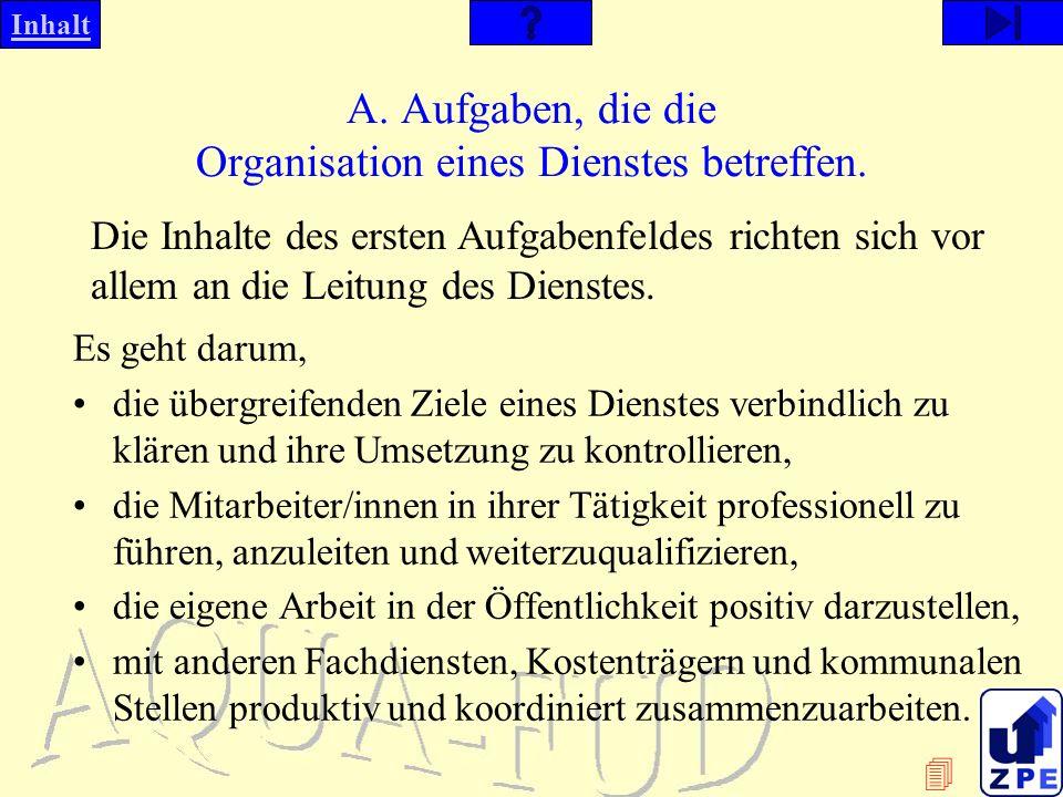 Inhalt A.Aufgaben, die die Organisation eines Dienstes betreffen.