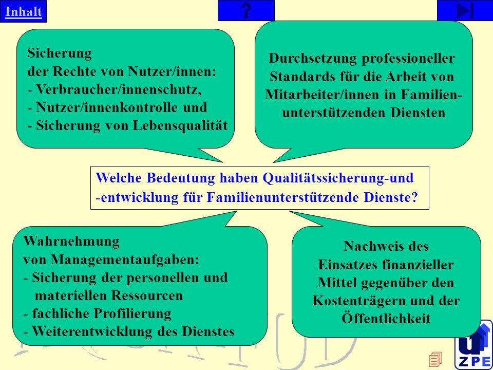 Inhalt Welche Bedeutung haben Qualitätssicherung-und -entwicklung für Familienunterstützende Dienste.