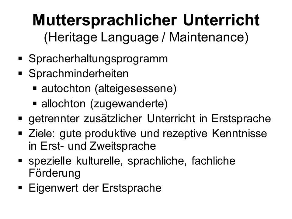 Muttersprachlicher Unterricht (Heritage Language / Maintenance) Spracherhaltungsprogramm Sprachminderheiten autochton (alteigesessene) allochton (zuge