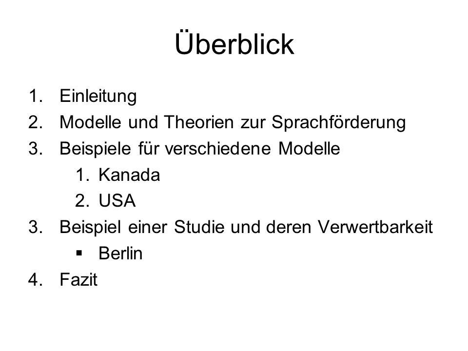 Überblick 1.Einleitung 2.Modelle und Theorien zur Sprachförderung 3.Beispiele für verschiedene Modelle 1.Kanada 2.USA 3.Beispiel einer Studie und dere