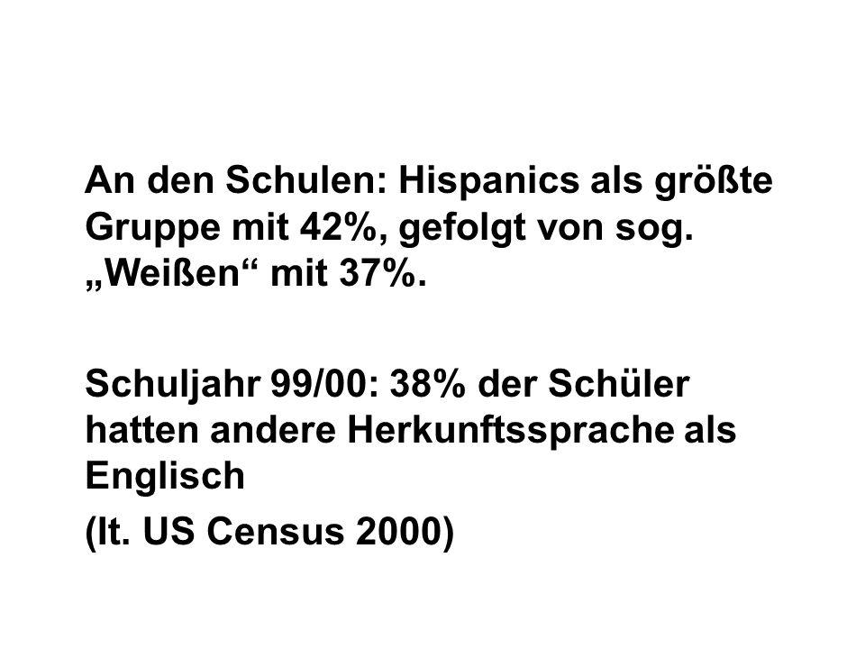 An den Schulen: Hispanics als größte Gruppe mit 42%, gefolgt von sog. Weißen mit 37%. Schuljahr 99/00: 38% der Schüler hatten andere Herkunftssprache