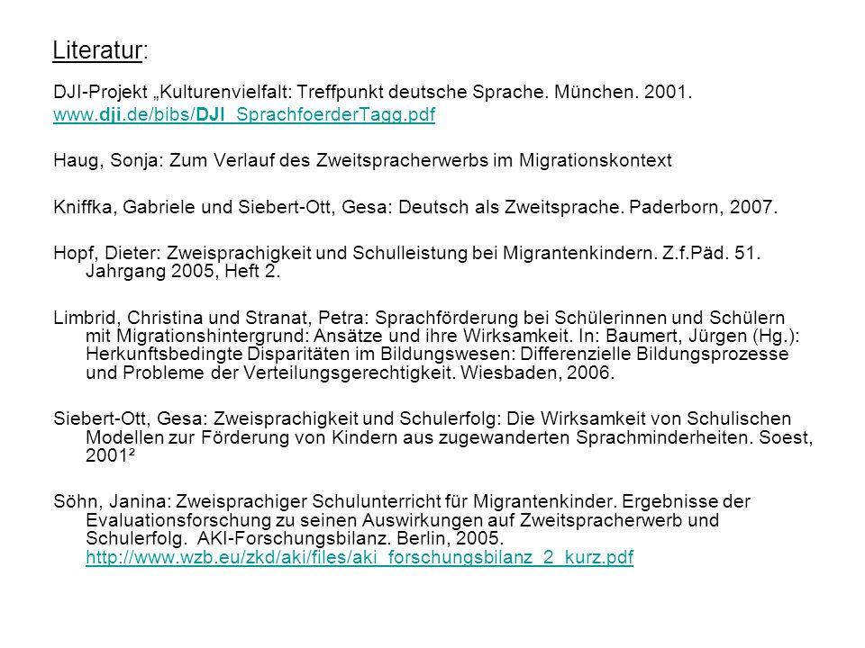 Literatur: DJI-Projekt Kulturenvielfalt: Treffpunkt deutsche Sprache. München. 2001. www.dji.de/bibs/DJI_SprachfoerderTagg.pdf Haug, Sonja: Zum Verlau