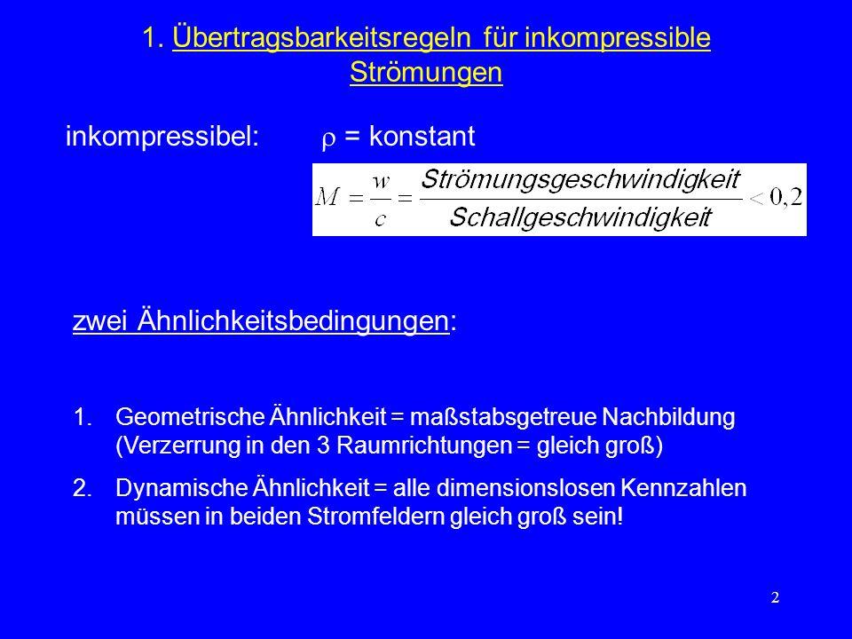 2 1. Übertragsbarkeitsregeln für inkompressible Strömungen inkompressibel: = konstant zwei Ähnlichkeitsbedingungen: 1.Geometrische Ähnlichkeit = maßst