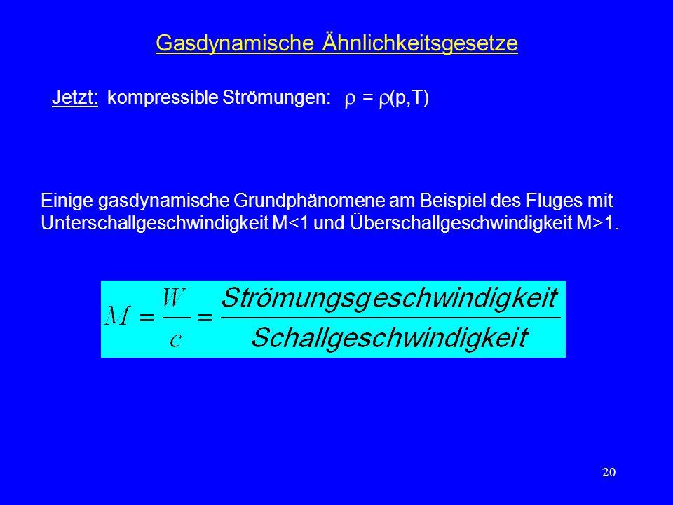20 Gasdynamische Ähnlichkeitsgesetze Jetzt: kompressible Strömungen: = (p,T) Einige gasdynamische Grundphänomene am Beispiel des Fluges mit Unterschallgeschwindigkeit M 1.