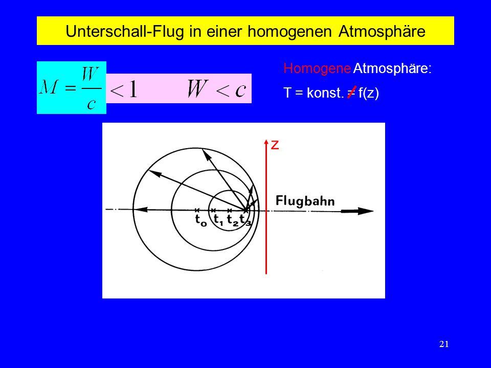 21 Unterschall-Flug in einer homogenen Atmosphäre Homogene Atmosphäre: T = konst. = f(z) z